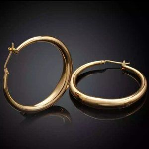 NEW 18K Yellow Gold 1.5'' Round Hoop Earrings